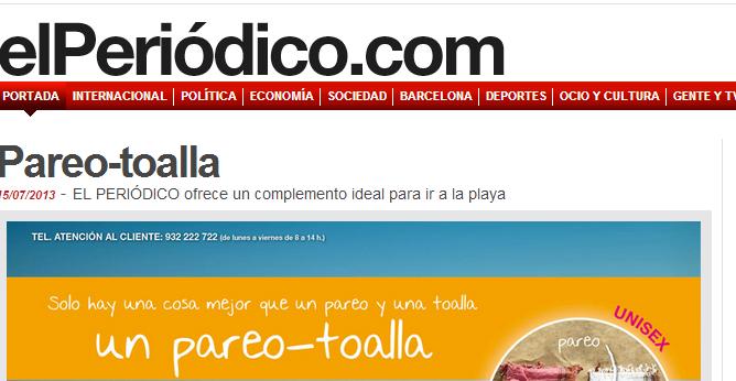 Toalla - Pareo - promoción periódico Catalunya