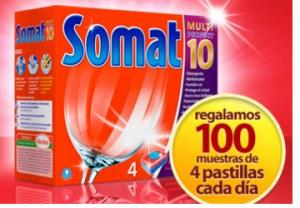 muestras gratis pastillas lavavajillas somat