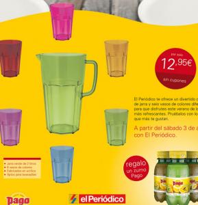 promocion el periodico - set de jarra y vasos de colores
