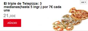 promocion telepizza - mediana 7 euros