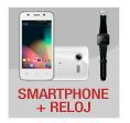 smartphone y reloj bluetooth con marca