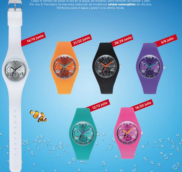 relojes silicona sumergibles con el periodico