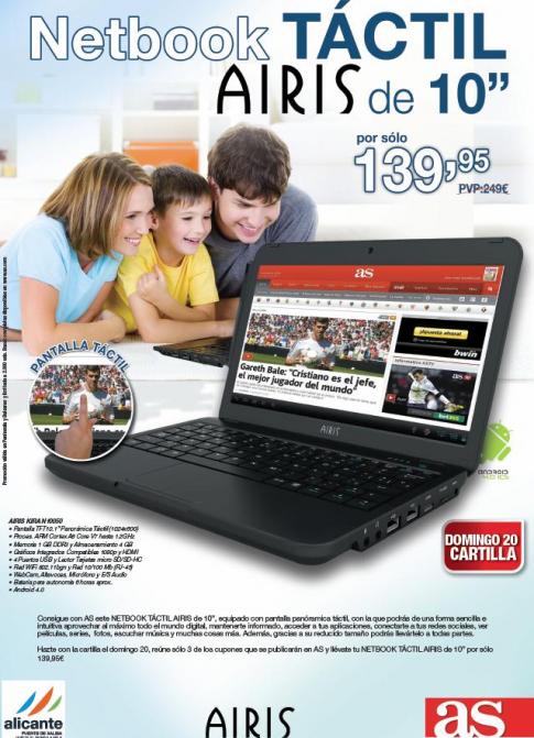 Consigue el Netbook Airis de la promoción de AS