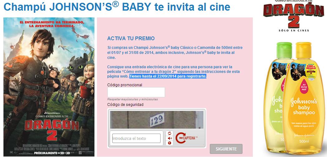 entradas cine gratis champu johnsons baby
