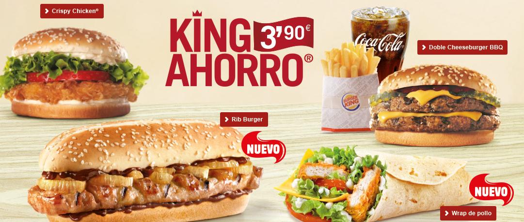 menu burguer king solo 3,90 euros