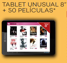 tablet Unusual hd 8- 50 peliculas
