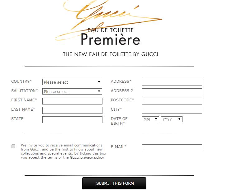 formulario pedir muestras gucci premiere