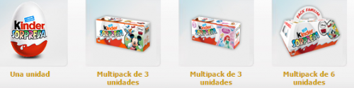 packs kinder sorpresa